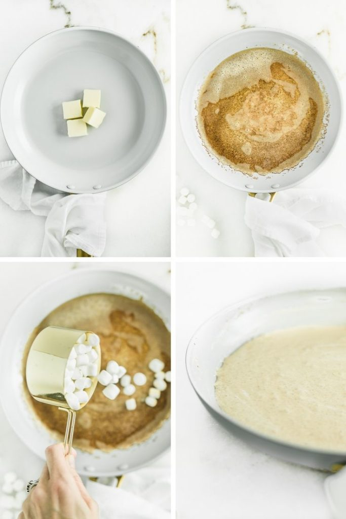 collage of four pictures showing butter cubes in a skillet, browned butter in a skillet, a hand pouring marshmallows into the skillet, and the melted marshmallows up close in the skillet.