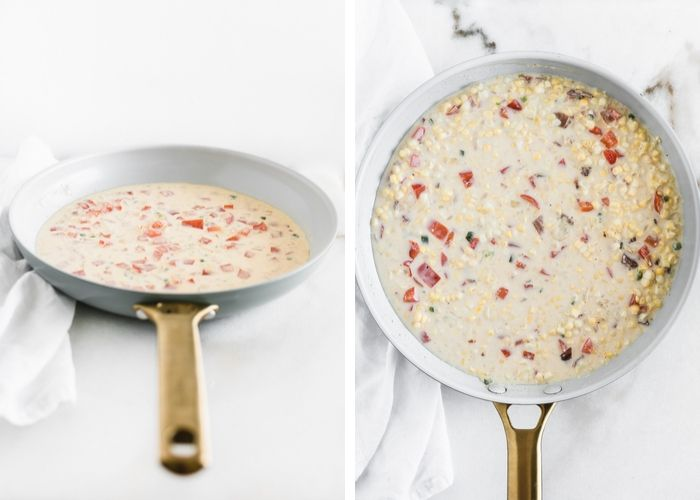 two images of a skillet - the first with diced red peppers, onions and jalapeños in a creamy sauce, the other with corn and bacon added to the sauce.