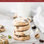 pinterest image for cranberry pistachio shortbread cookies