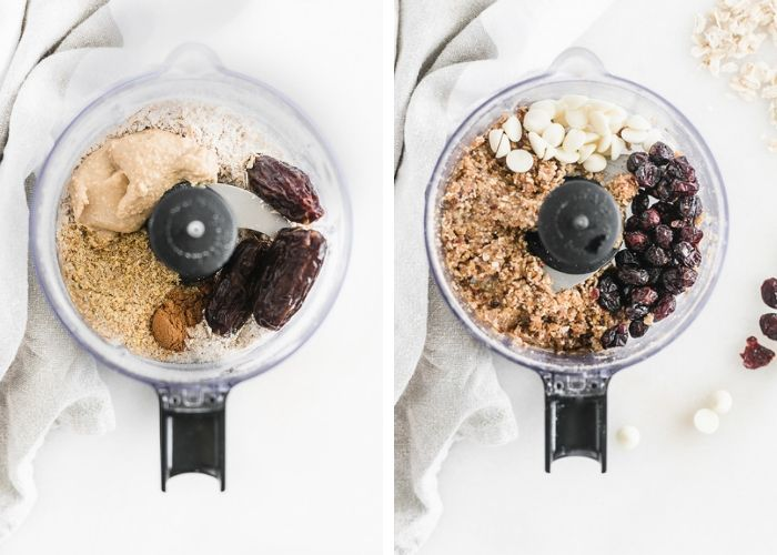 side by side images of ingredients for cranberry bliss balls in a food processor.