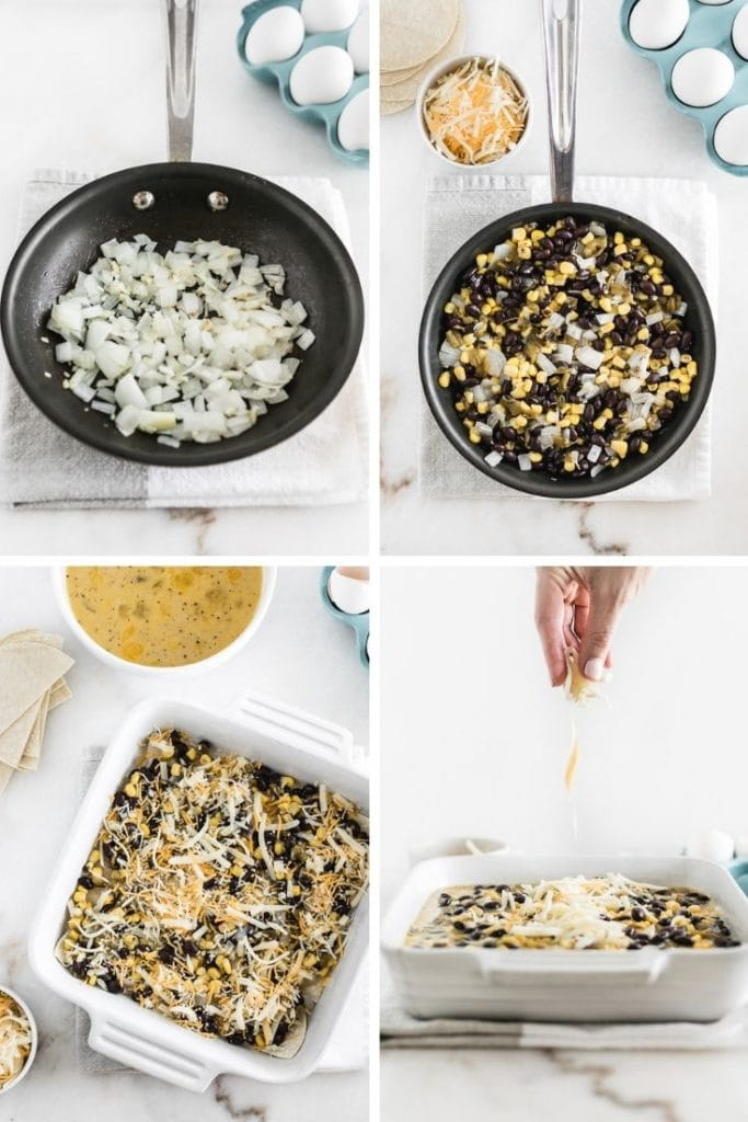 collage of images showing how to prepare a mexican breakfast casserole.