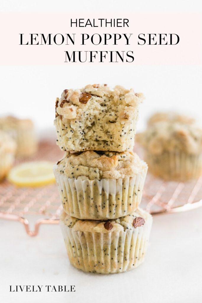 pinterest image for lemon poppy seed muffins