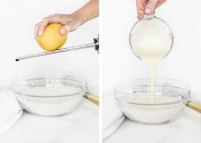 two side by side images - one of a hand zesting a lemon into a bowl of dry ingredients, the other pouring wet ingredients into the bowl.