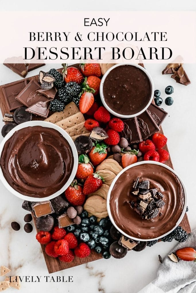 pinterest image for Berry Chocolate Dessert Board