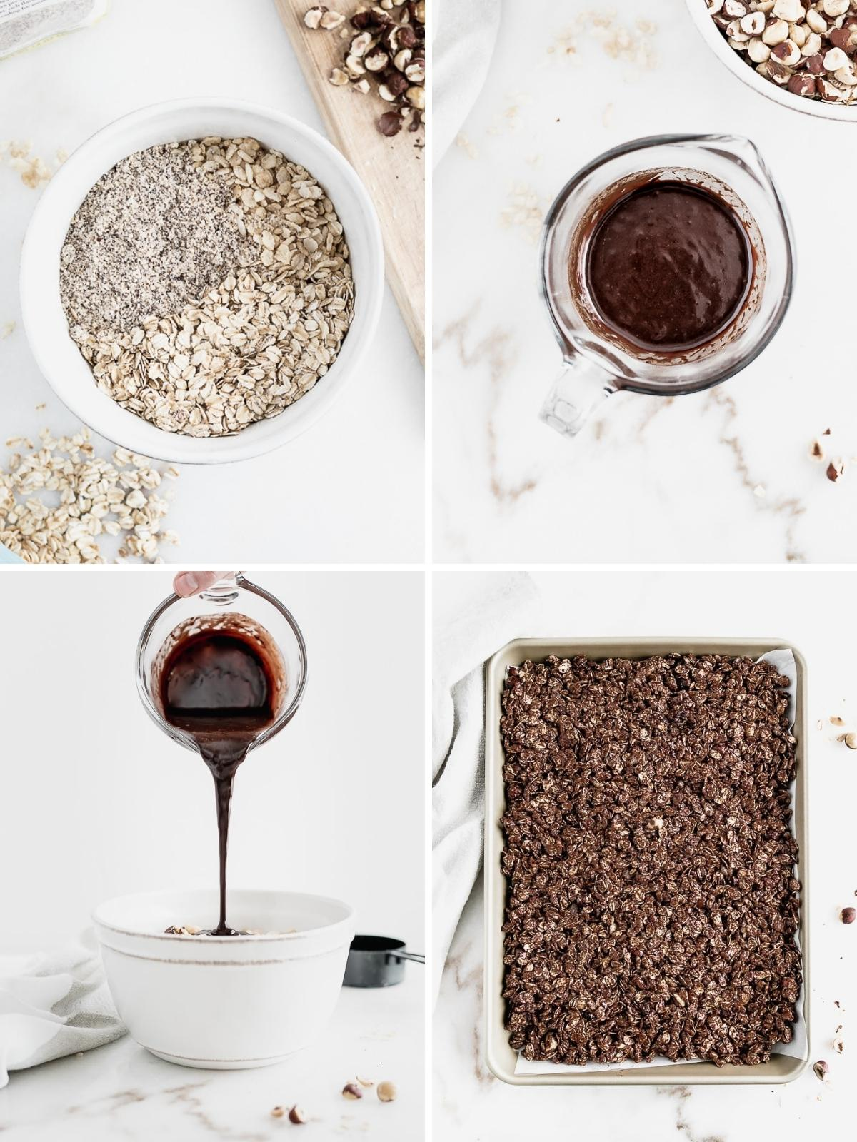 unbaked chocolate granola packed onto a baking sheet.
