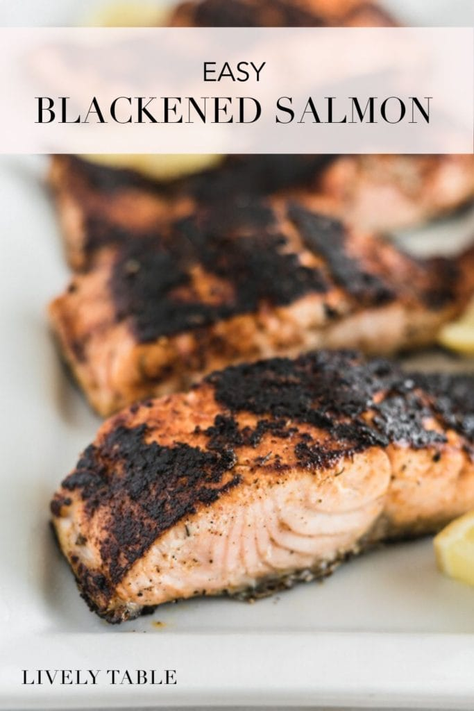 pinterest image for easy blackened salmon