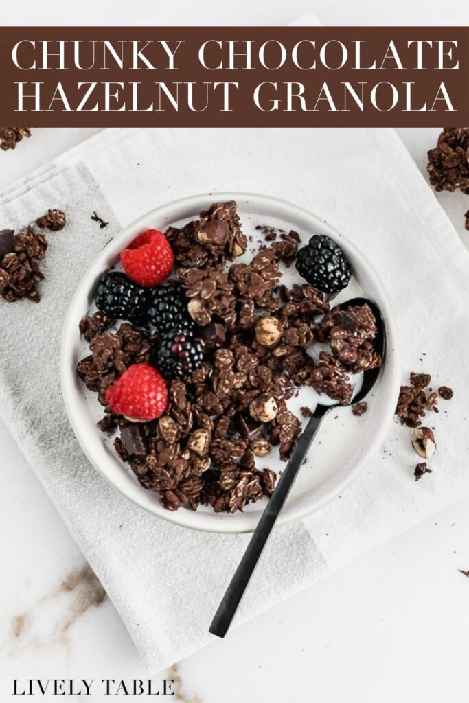 pinterest images for chunky chocolate hazelnut granola