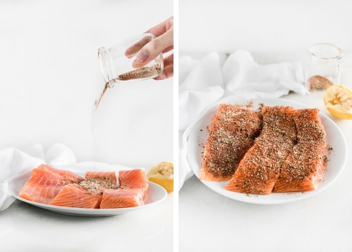 two side by side images showing a hand pouring seasoning onto salmon, the other showing seasoned salmon filets.