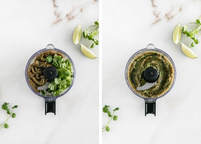 side by side images of green chiles and cilantro in a food processor and the blended chiles in the food processor.