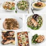 square collage image with 8 seafood recipes.