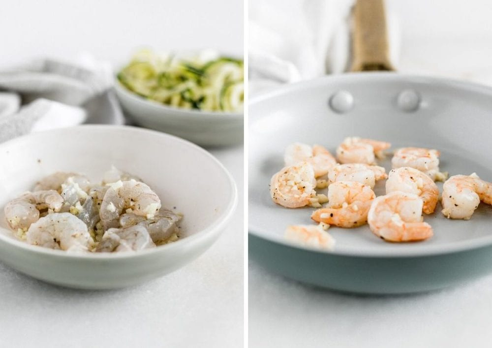 side by side images of raw shrimp in a bowl and cooked shrimp in a skillet.