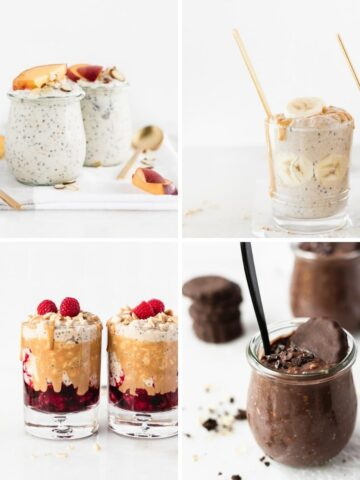 collage of 4 overnight oats recipes