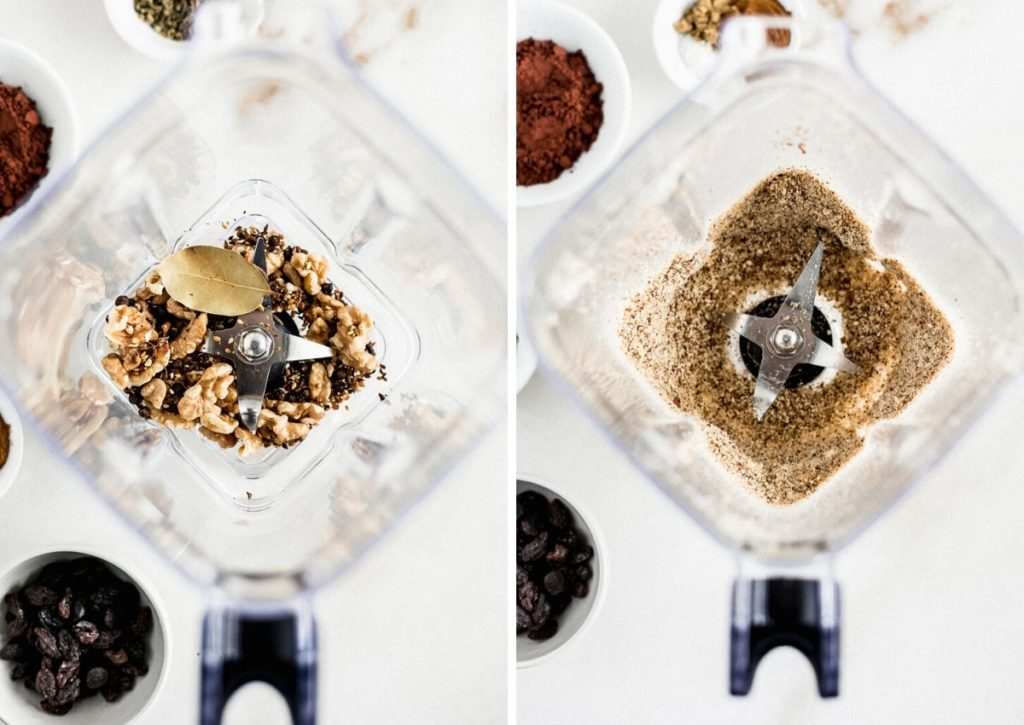 two images of spices in a blender, and spices ground in the blender.