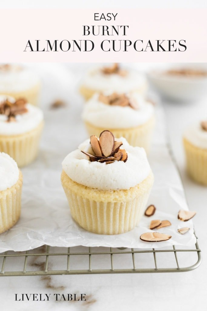 pinterest image for easy burnt almond cupcakes
