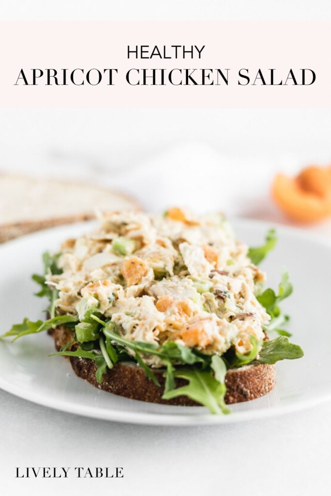 pinterest image for healthy apricot chicken salad.