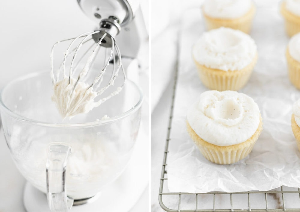 frosting on the whisk of a stand mixer next to a photo of frosted cupcakes.