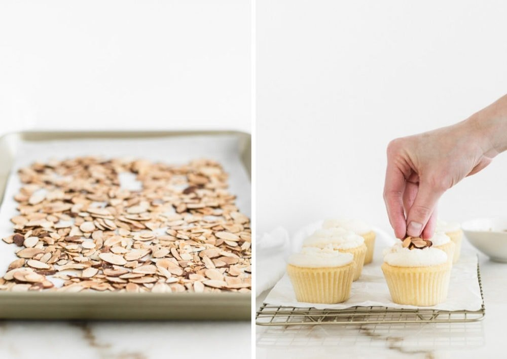 a photo of toasted almonds on a baking sheet next to a photo of a hand placing almonds on a frosted cupcake.