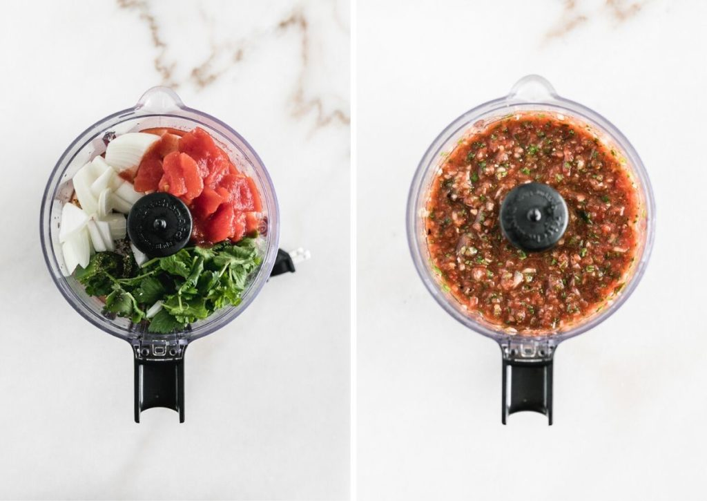 side by side images of salsa ingredients in a food processor and salsa in a food processor.