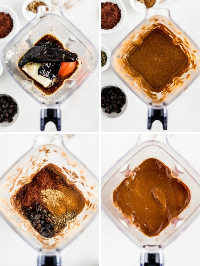 four overhead images of a blender showing steps to blending mole sauce.