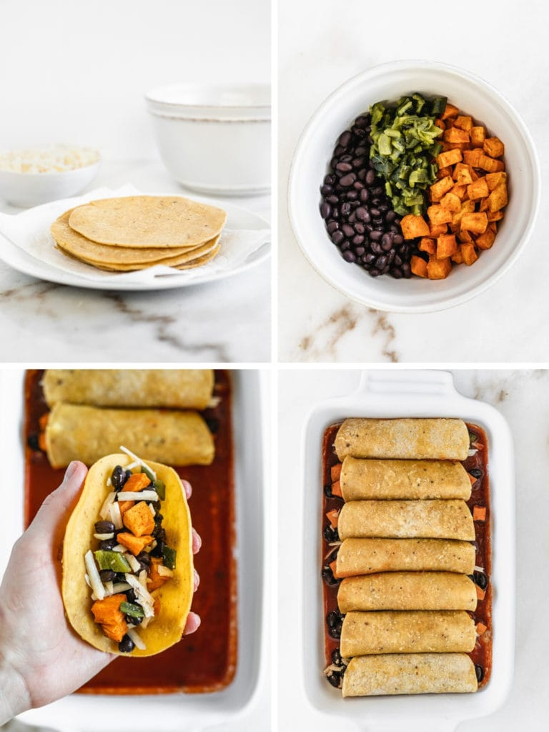 collage of four images showing steps for making enchiladas.