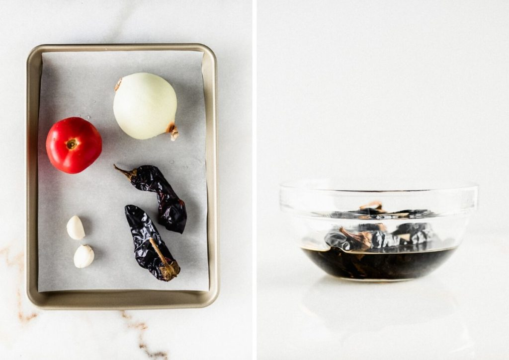 two photos showing veggies on a roasting tray, and dried peppers soaking in water in a glass bowl.