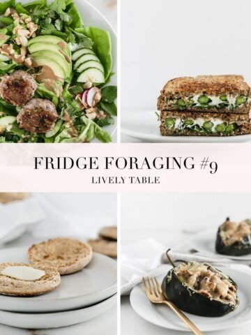collage image of four meals for fridge foraging 9.