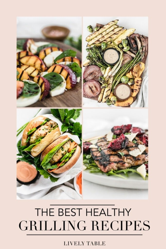 collage of four grilled recipes with text overlay.
