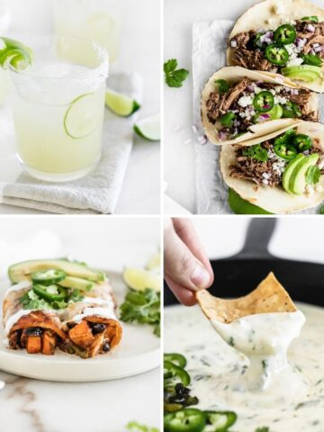 collage of mexican recipes for cinco de mayo.