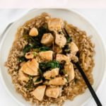pinterest image for orange basil chicken.