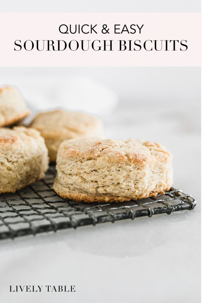 pinterest image for sourdough biscuits.