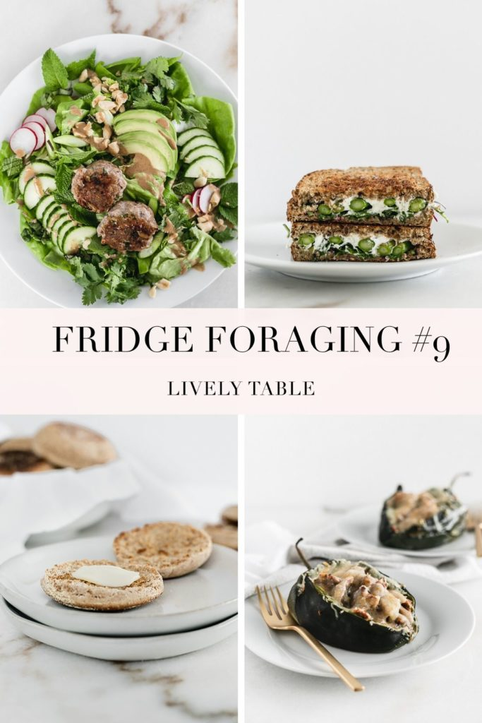 collage image for fridge foraging #9 showing 4 different meals.