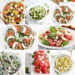 collage image of healthy summer side dishes.