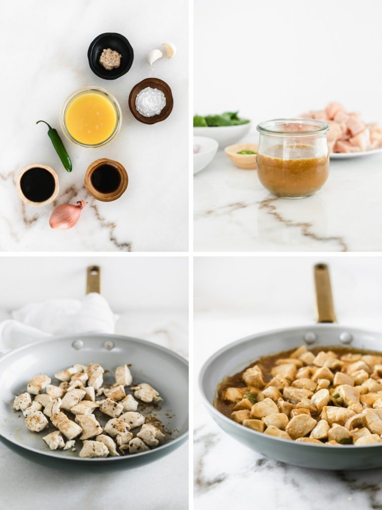 four images showing steps to making orange basil chicken.