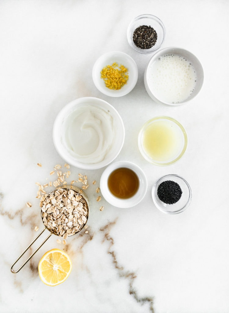 overhead view of ingredients to make lemon poppy seed overnight oats.