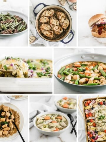 collage image of healthy one dish meals.