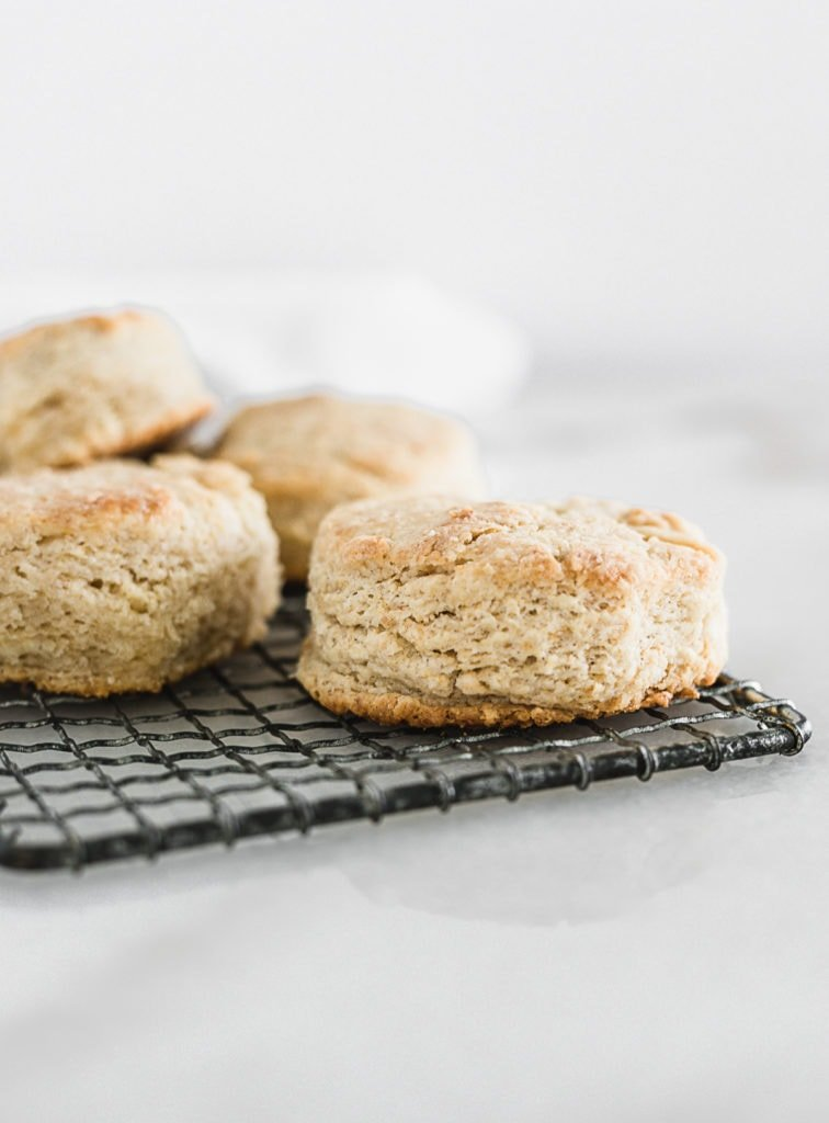 sourdough biscuits on a cooling rack.