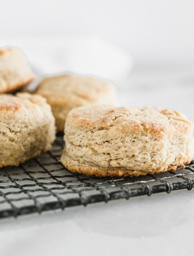 sourdough biscuits on a cooling rack