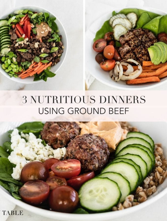 collage image with 3 dinners using ground beef and text overlay.