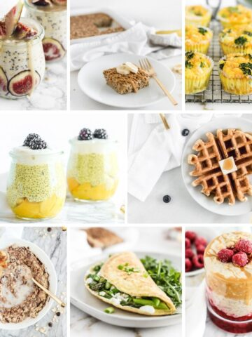 collage image of breakfast recipes with 7 ingredients or less.