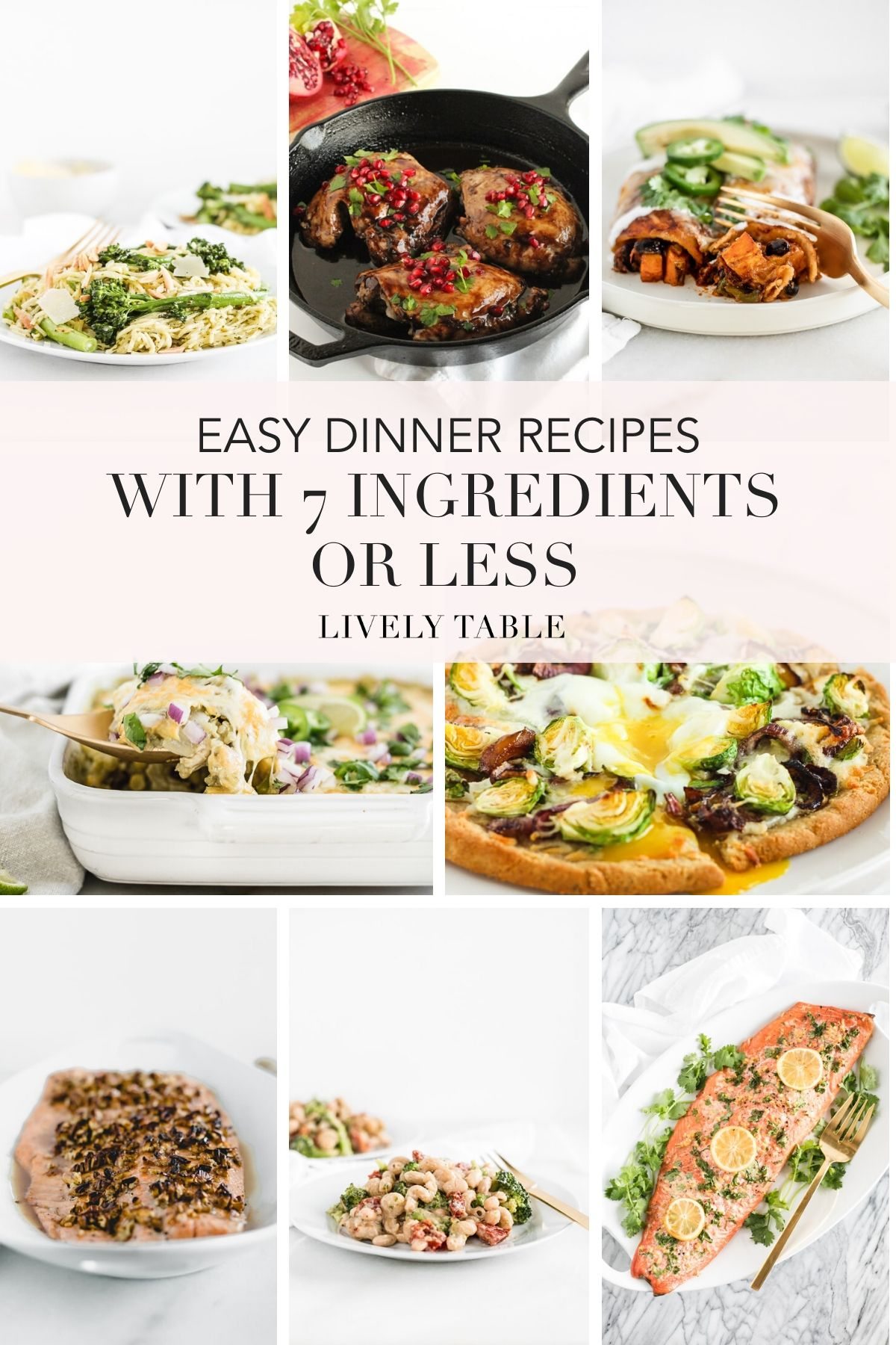 PInterest image for Easy dinner recipes with 7 ingredients or less