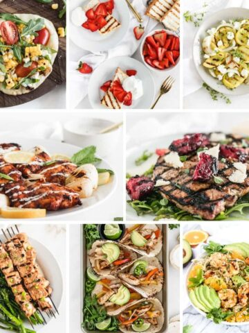 collage image with 8 grilled recipes.