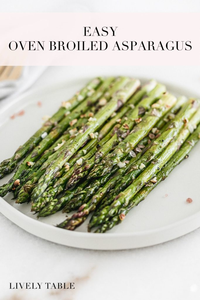 pinterest image for easy broiled asparagus