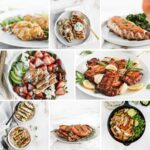 collage image of healthy grilled chicken dinners.