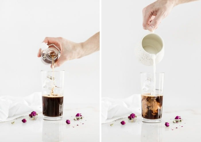 two side by side images of a hand pouring simple syrup into a latte, and pouring cream into a latte.