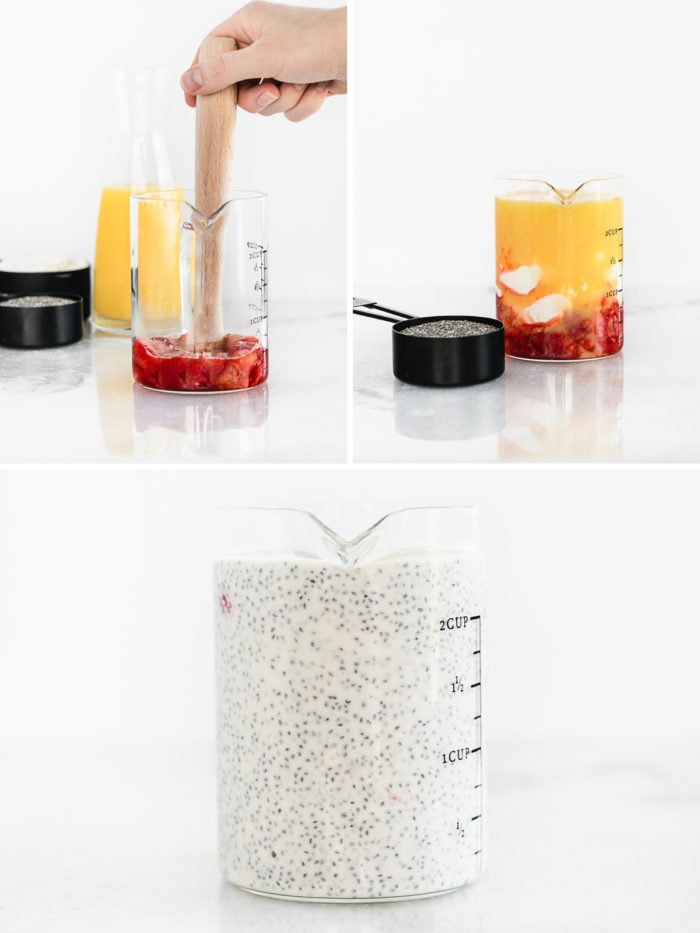 collage image showing steps to making orange juice strawberry coconut chia pudding.