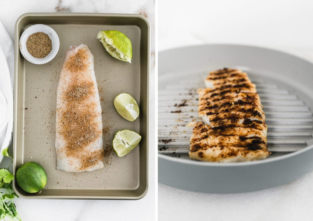 side by side images of a fish filet on a baking sheet with spice rub on it, and fish being grilled in a grill pan.