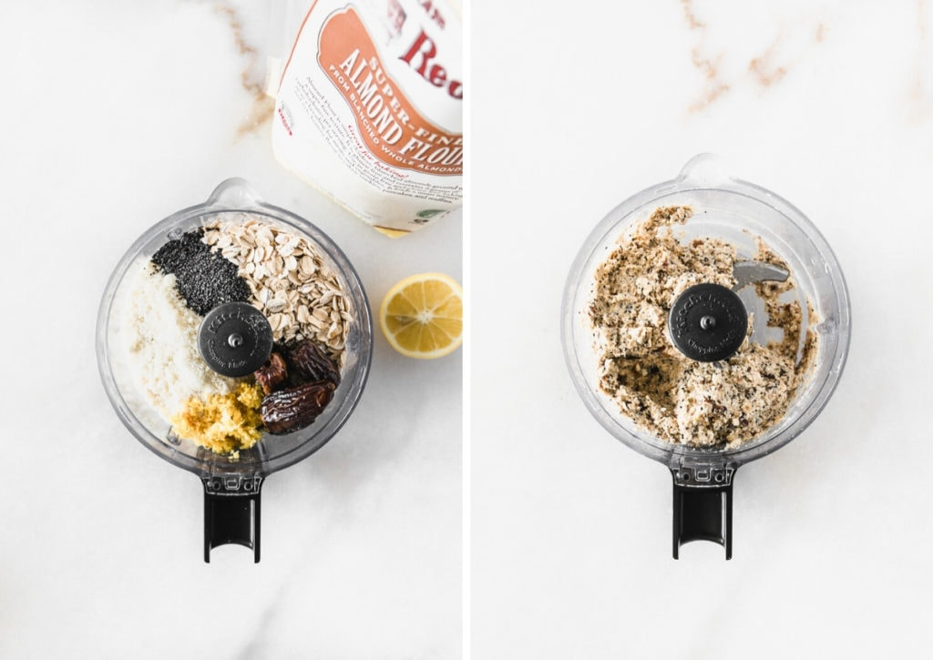 two images of a food processor, before and after blending lemon poppy seed bite ingredients.