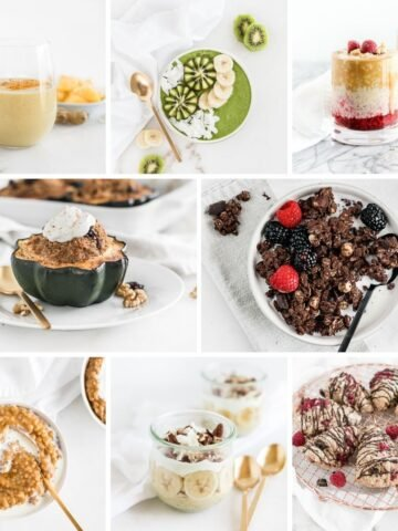 collage image of breakfast recipes without eggs.