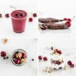 collage image of 4 cherry snack recipes.