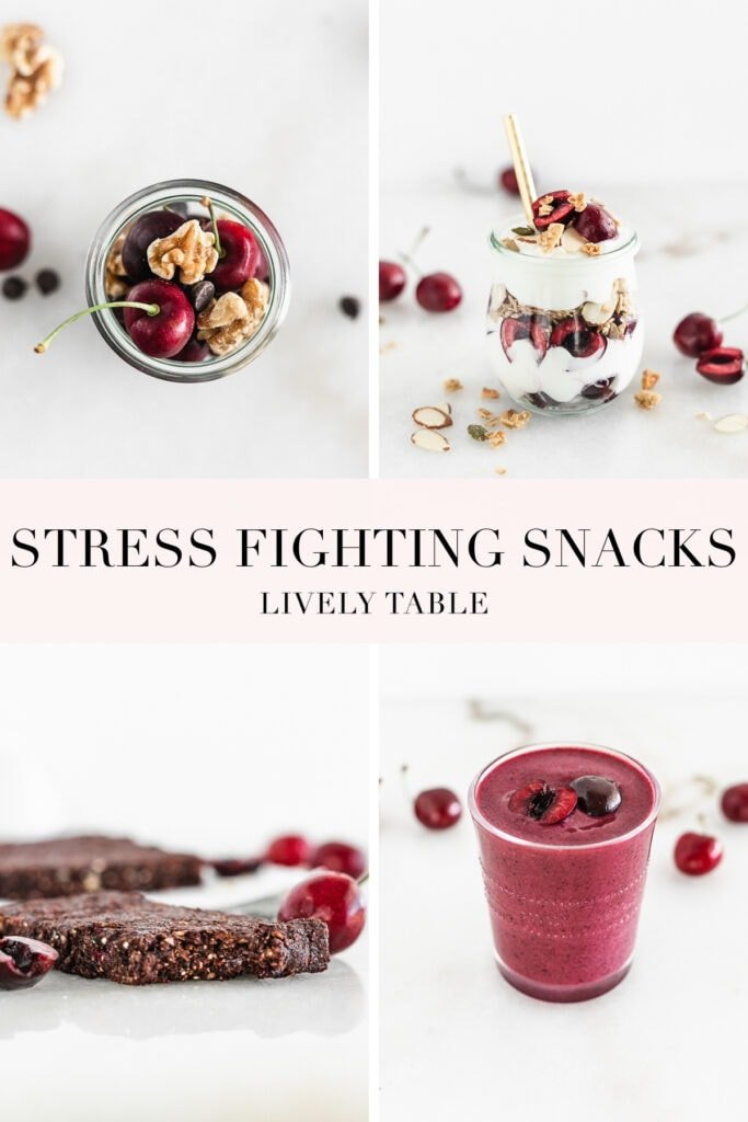 pinterest collage image with text for stress fighting snacks.